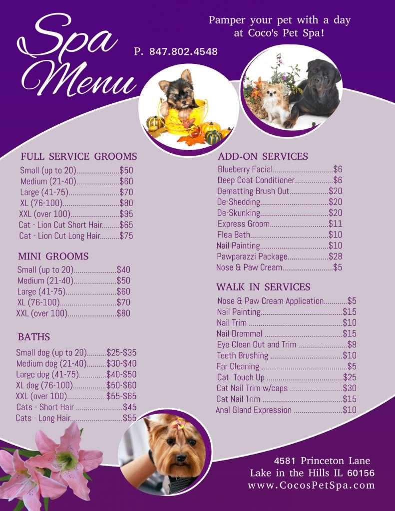 Coco's Pet Spa service menu and prices